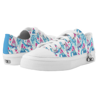 Abstract Watercolor Tropical Leaf Pattern Low Tops