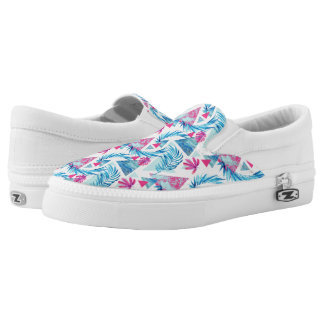 Abstract Watercolor Tropical Leaf Pattern Slip-On Shoes