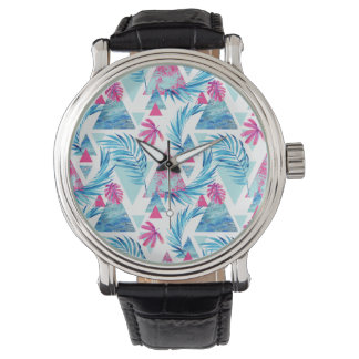 Abstract Watercolor Tropical Leaf Pattern Watch
