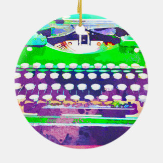 Abstract Watercolor - Vintage Typewriter Ceramic Ornament