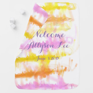 Abstract Watercolor Wash Welcome New Baby Name Baby Blanket