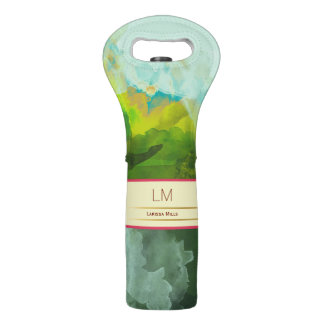 abstract watercolor with sophisticated monogram wine bag