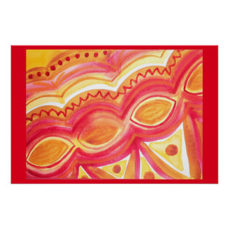 Abstract watercolor with warm ethnic feel poster