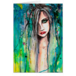 Abstract Watercolor Woman Portrait Fantasy Art Greeting Card