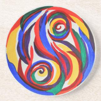 Abstract watercolor yin yang rainbow coaster