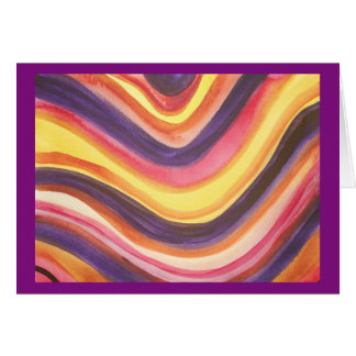 Abstract watercolor zig-zag stripes card