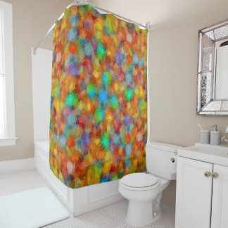 Abstract Watercolour Bubbly Pattern Shower Curtain