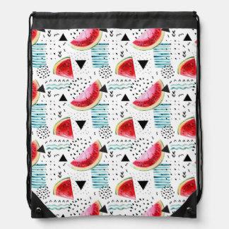 Abstract Watermelon Pattern Drawstring Bag