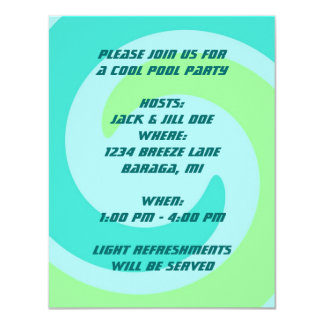 ABSTRACT WAVE Retro POOL Beach Party Invitation