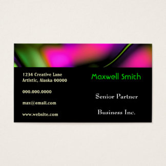 Abstract Waves Bold Bright Funky Creative Fun Business Card