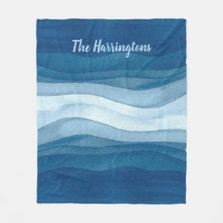 Abstract Waves custom name fleece blanket