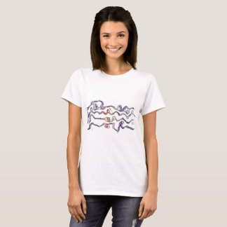 Abstract wavy Musical Notes Staff T shirt