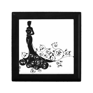 Abstract Wedding Bride Silhouette Gift Box