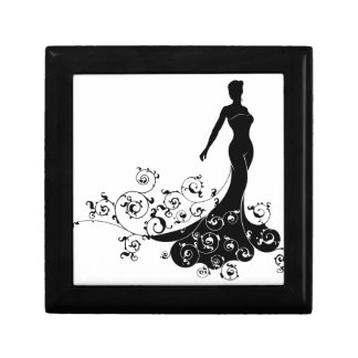 Abstract Wedding Bride Silhouette Small Square Gift Box