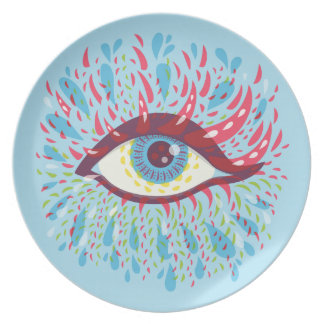 Abstract Weird Blue Psychedelic Eye Plate