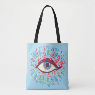 Abstract Weird Blue Psychedelic Eye Tote Bag