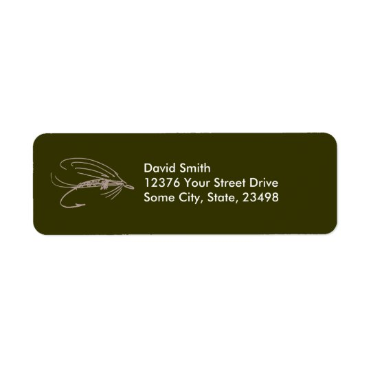 Abstract Wet Fly Lure Return Address Label