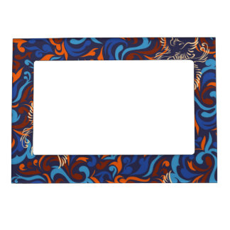 Abstract whimsical bird rustic pattern magnetic photo frames