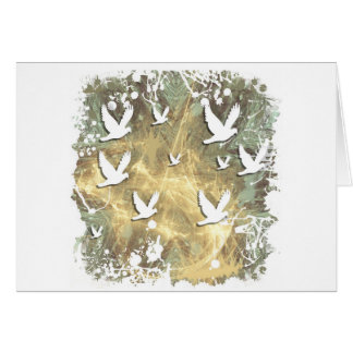 Abstract white birds greeting card
