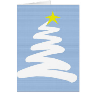 Abstract White Christmas Tree on Blue Greeting Card