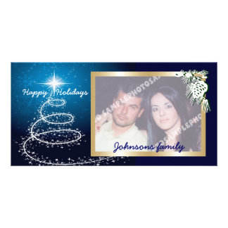 Abstract White Christmas Tree On Glowing Blue Photo Card Template