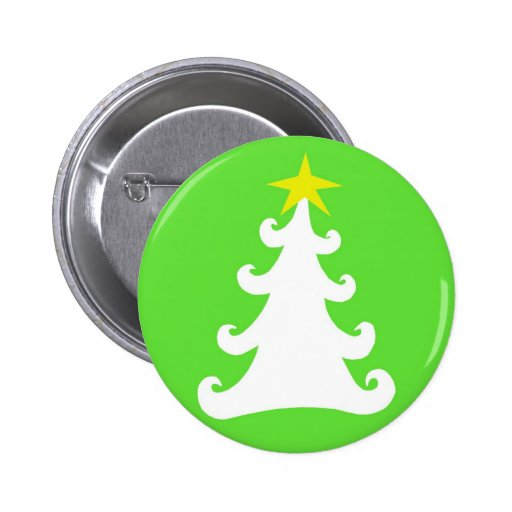 Abstract White Christmas Tree on Green Pin