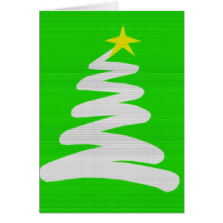Abstract White Christmas Tree on Green Greeting Card
