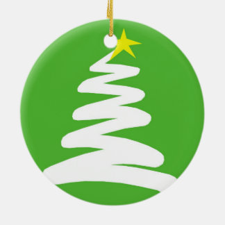 Abstract White Christmas Tree on Green Round Ceramic Decoration