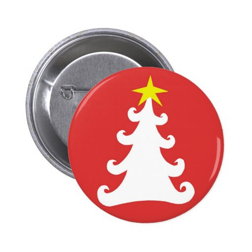 Abstract White Christmas Tree on Red Button