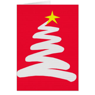 Abstract White Christmas Tree on Red Greeting Card
