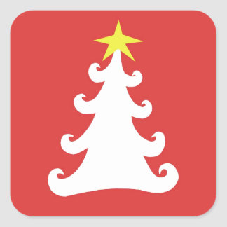 Abstract White Christmas Tree on Red Square Sticker