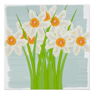 Abstract White Daffodils Watercolor Art Poster