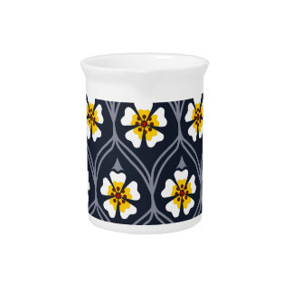 abstract white flower pattern pitcher