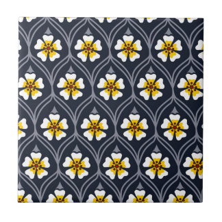 abstract white flower pattern small square tile