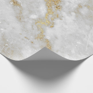 Abstract White Gold Gray Carrara Marble Stone VIP Wrapping Paper
