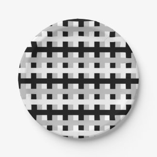 Abstract White, Grey and Black Paper Plate