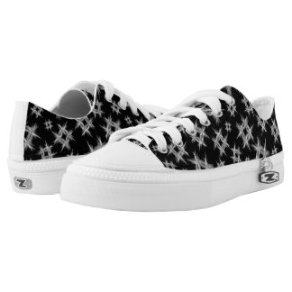 abstract white on black hashtags pattern printed shoes