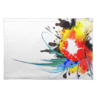 Abstract Wild Parrot Paint Splatters Placemat