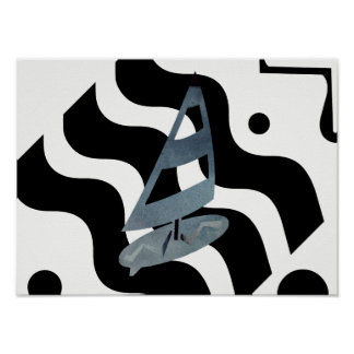 Abstract Wind Surf Boards Blue Black White Poster