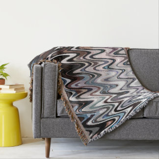 Abstract Winding Rivers ~ Brown Throw Blanket