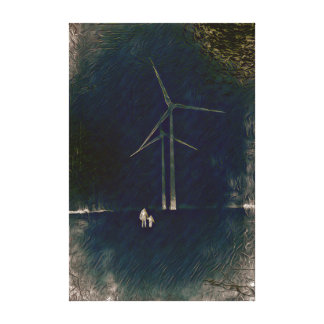 Abstract Windmill Climate Change Artistic Painting Canvas Print