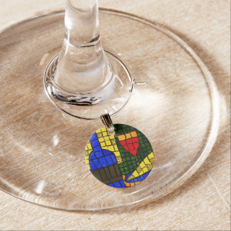 Abstract Wine And Cheese Wine Charm