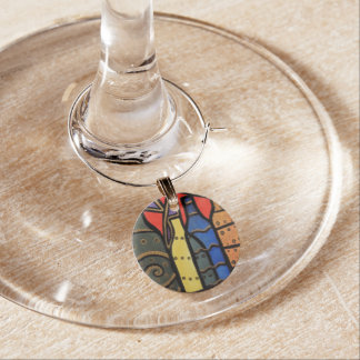 Abstract Wine Bottles Bright Colors Wine Charm