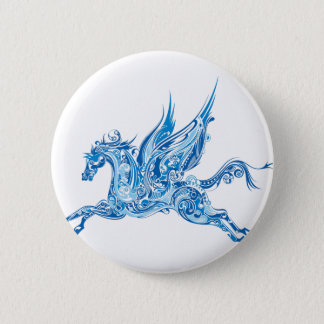 Abstract Winged Horse 6 Cm Round Badge