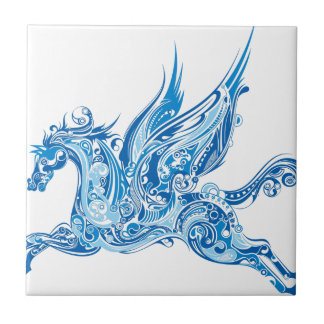Abstract Winged Horse Ceramic Tile