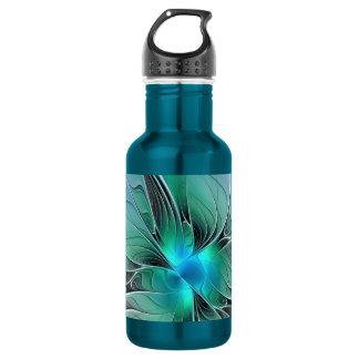 Abstract With Blue, Modern Fractal Art 532 Ml Water Bottle