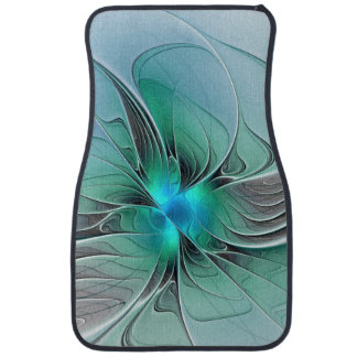 Abstract With Blue, Modern Fractal Art Car Mat