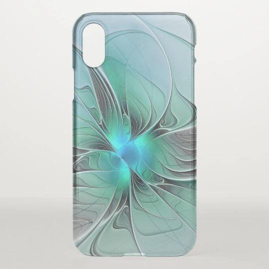 Abstract With Blue, Modern Fractal Art iPhone X Case