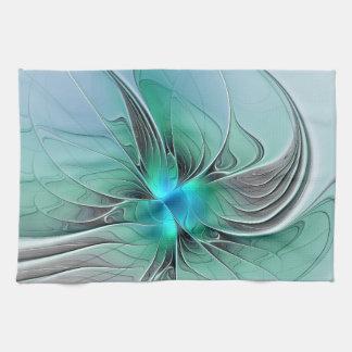 Abstract With Blue, Modern Fractal Art Tea Towel