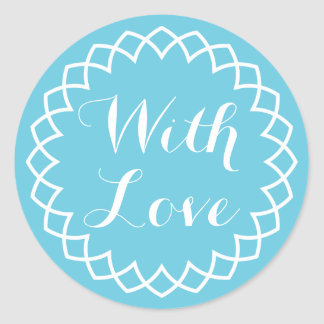 Abstract With Love White And Blue Turquoise Circle Round Sticker